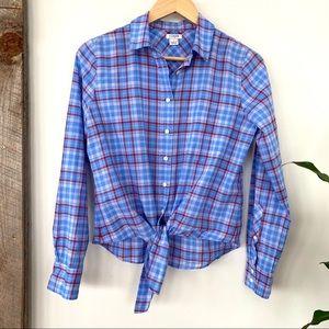 J. Crew 💯 cotton plaid tie front shirt